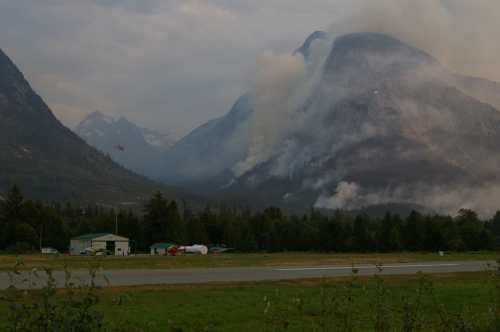The east side of Nuxalk Mountain ablaze.